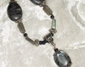 Sale 50% off! Silver Labradorite and Hematite Bead Necklace