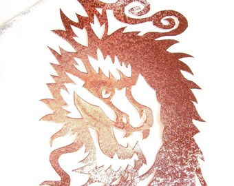 Asian Dragon in Brown Papercut Bookmark