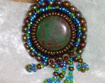 World Globe and Flowing Waters Bead Embroidered Pendant