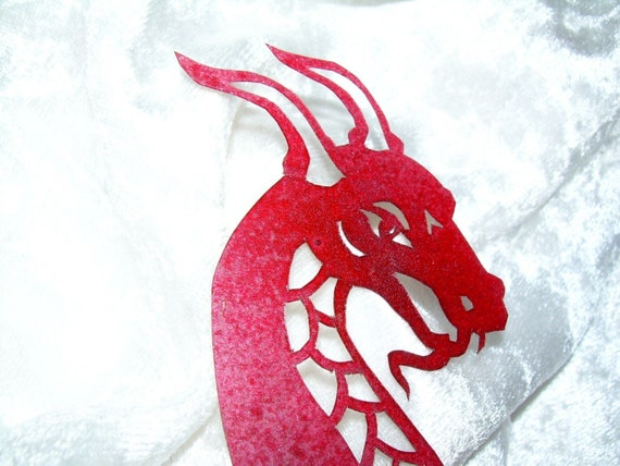 Western Dragon in Red Papercut Bookmark