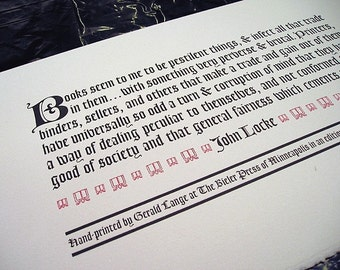 Books Seem To Me To Be Pestilent Things by John Locke Letterpress Printed Limited Edition Broadside