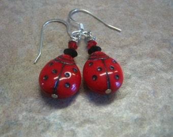 Red Ladybug Jewelry Earrings