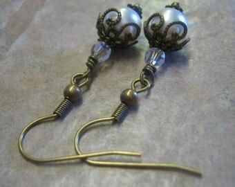 Antiqued Brass Vintage inspired Pearl Earrings