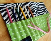Pencil Holder - Funky Fun Zebra Stripe Pencil Roll for a Girl, great for pencils, markers, paintbrushes - becauseimme