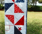 Nautical Beach Lap Quilt - Red, Blue, White Cottage Lap, Baby, or Toddler Quilt for boy or girl, home