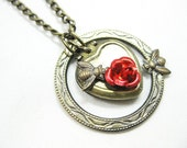 Stop and Smell the Roses. Locket Necklace