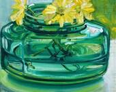 Daisies All Year Long original mixed media painting