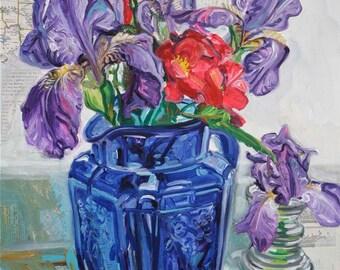 SALE Sense for Spirit original mixed media painting or irises by Polly Jones