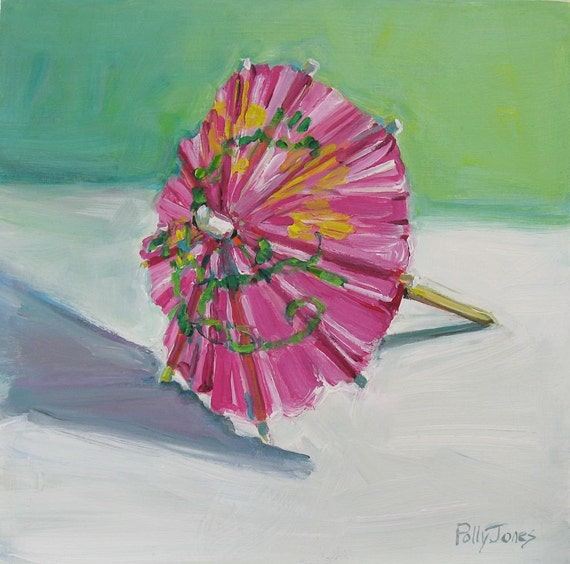 Pink Umbrella 2 original painting by Polly Jones