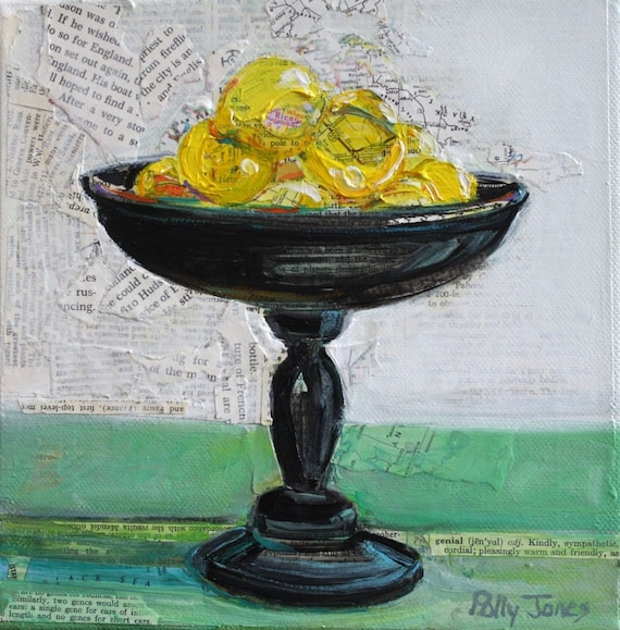 More Lemons original mixed media painting by Polly Jones
