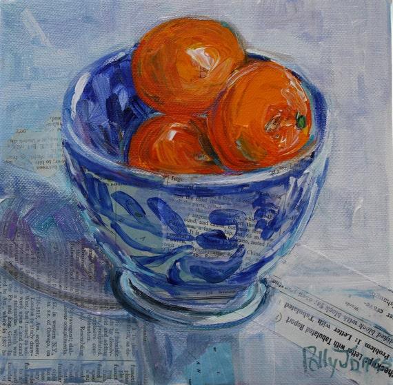 Mandarins in Blue Flow Bowl original mixed media collage painting