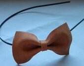 Upcycled Leather Bow Headband