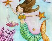 Mermaid Nursery Art Print 8x10