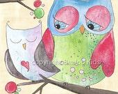 Nursery Owl Art Print 8x10
