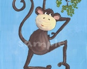 Nursery Art Monkey Print 8x10