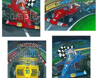 Race Car Art, Kids Wall Art Set Of Four 8x10 Prints