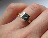 Modern engagement ring - recycled sterling silver - 14k yellow gold plated - ready to ship - faceted metal stone - square- size 8