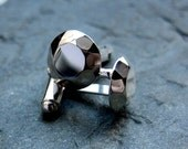 Mens cuff links -recycled sterling silver - faceted metal diamonds - fathers day jewelry - gift -modern rock