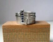 Geometric modern sterling sapphire stack ring set, artisan metalsmith, september birthstone, Metropolis made to order