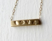 """Gold love necklace - hand stamped - 14k yellow gold - custom - anniversary gift - Muse necklace, 16"""" chain"""