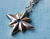 London blue topaz star necklace, December birthstone, london blue topaz, artisan metalsmith, Stella