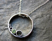 "Peridot necklace - circle necklace - August birthstone - bubbles - geometric - recycled sterling silver - 18"" chain"