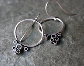 Silver dangle hoop earrings - tiny bubbles - circle earrings - recycled sterling silver - blackened