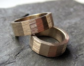 Brass wedding band set, industrial, hex nut ring, 7mm gold brass, made to order