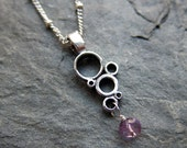 Purple amethyst necklace - Modern - oxidized - recycled sterling silver - Bubbles necklace - circles - ready to ship