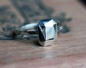 Faceted ring -modern silver gem ring - Gemalicious Bling Ring - diamond like - recycled sterling silver