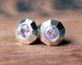 Pink sapphire earrings - silver stud earrings - recycled sterling silver - september birthstone - ready to ship - tiny sweeties