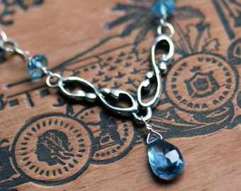 London blue topaz necklace, silver y necklace silver, wedding necklace, gift for bride, something blue, bridesmaid necklace, Wrought