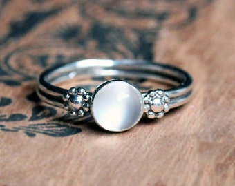 Moonstone ring, June birthstone ring, moonstone cabochon ring, recycled silver ring, daisy ring, flower ring, bohemian ring, made to order
