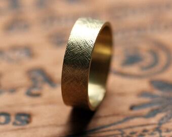 18k yellow gold wedding band, rustic wedding band, mens gold wedding band, unisex wedding band, textured wedding band, custom made to order