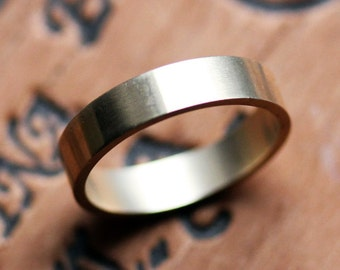 14k yellow gold wedding band - recycled gold ring - unisex - modern - brushed gold - flat band - custom made to order - personalized ring