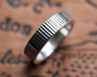 Silver mens wedding band - modern wedding ring - recycled metal - unisex wedding ring - modern mens ring- industrial - urban - made to order