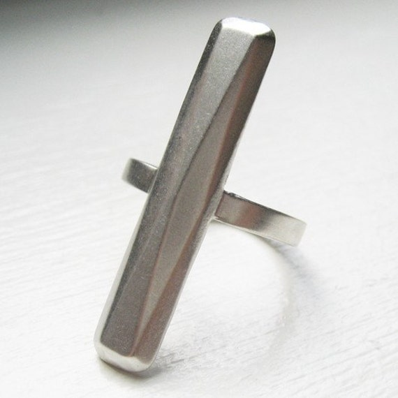 Sterling bold knuckle ring geometric, size 8