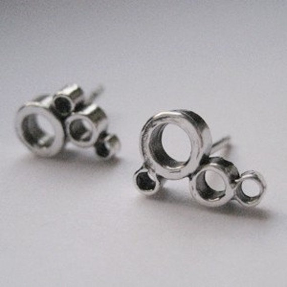 Tiny sterling silver stud earrings - geometric circles - recycled sterling silver - Modern bubbles - ready to ship