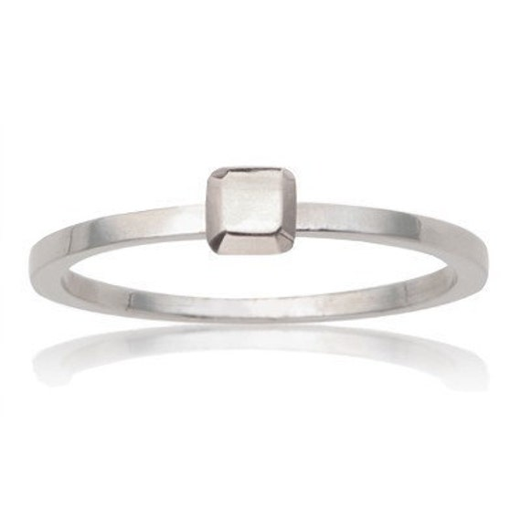 READY TO SHIP, Eco-friendly Mini Modern Rock sterling square ring with square gem, size 7