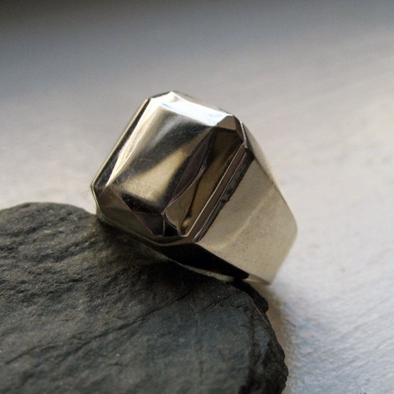 Special listing for S: Modern mens ring - faceted metal - heavy solid metal gem ring - diamond like - recycled sterling silver