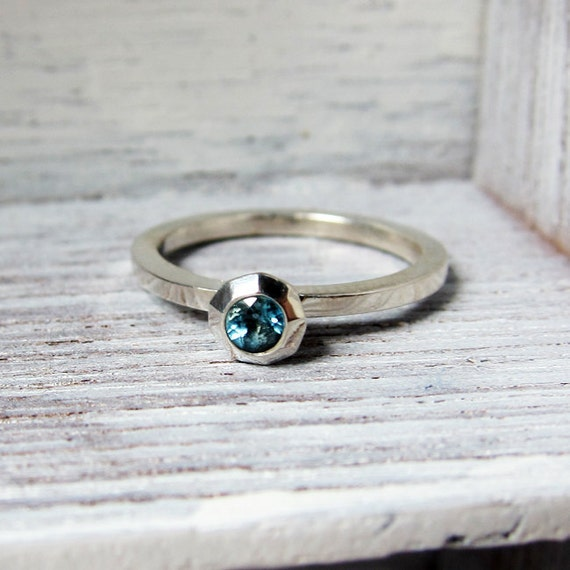 Blue topaz ring - modern engagment ring - faceted metal - recycled sterling silver - ready to ship