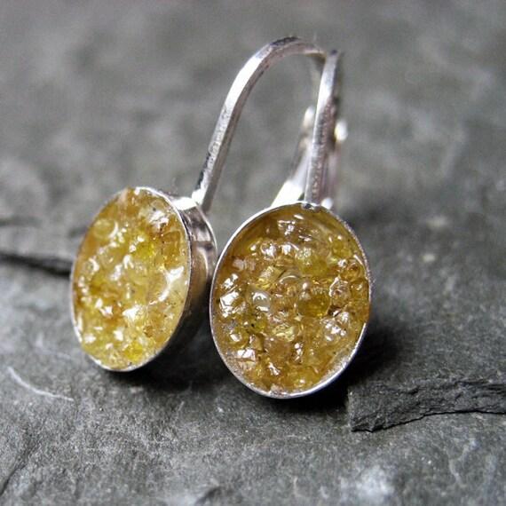 Raw yellow diamond earrings, rough diamonds in sterling silver, Valentine jewelry, dangle earrings