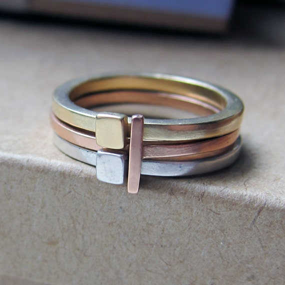 14k gold stacking rings, gold stacking rings, modern ring, mixed metal ring, alternative engagement ring, geometric ring, custom Metropolis