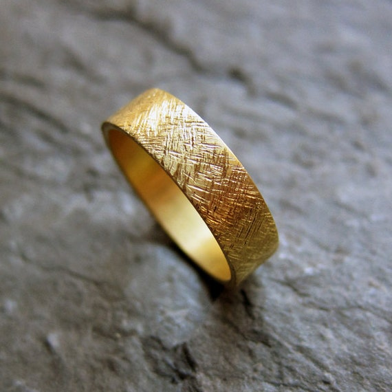 22k yellow gold wedding band, rustic wedding ring, 5mm ring, brushed gold band, unisex wedding band, recycled, ethical wedding, custom