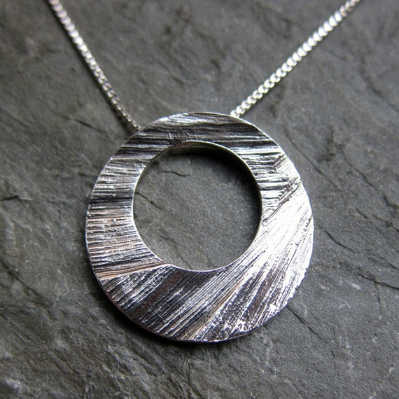 Textured circle necklace - oxidized sterling silver - artisan metalsmith- Modern Moon - raw collection