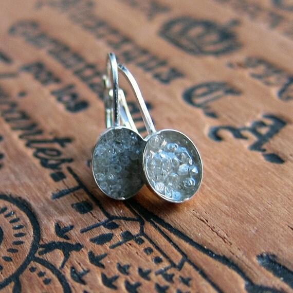 Raw diamond earrings - rough white diamond - sterling silver - leverbacks - ready to ship