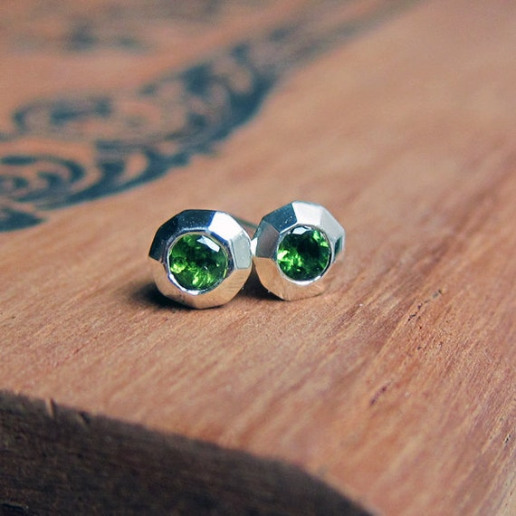 Tsavorite garnet earrings - tiny gemstone studs - recycled sterling silver - January birthstone - emerald green -ready to ship Tiny Sweeties