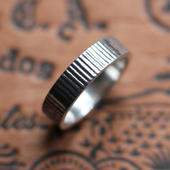 Special listing for S: Mens wedding band - coin texture - oxidized -  recycled sterling silver - industrial - made to order size 8