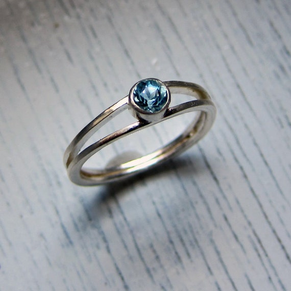 Aquamarine engagement ring - modern engagement ring - modern promise ring - March birthstone, blue stone, Wishes ring, ready to ship, size 7