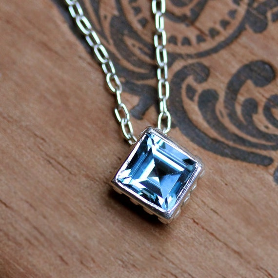 Blue topaz solitaire necklace - square cut - recycled sterling silver - ready to ship - Wrought square
